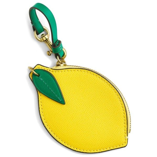 Women's J.crew Leather Lemon Coin Purse found on Polyvore featuring bags, wallets, coin purse wallets, leather change purse, 100 leather wallet, change purse and yellow bags