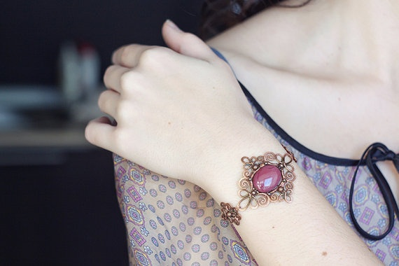 omg,this is gorgeous.  Copper wire wrapped bracelet with mookaite jasper - maroon burgundy - filigree oxidized antiqued hammered.