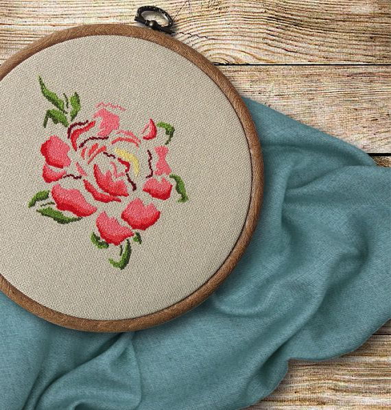 Peony modern cross stitch pattern PDF Instant by TakasMade