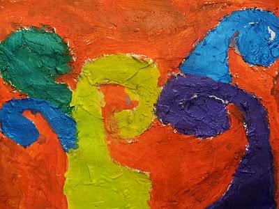 Koru art painting about children's whanau (family).