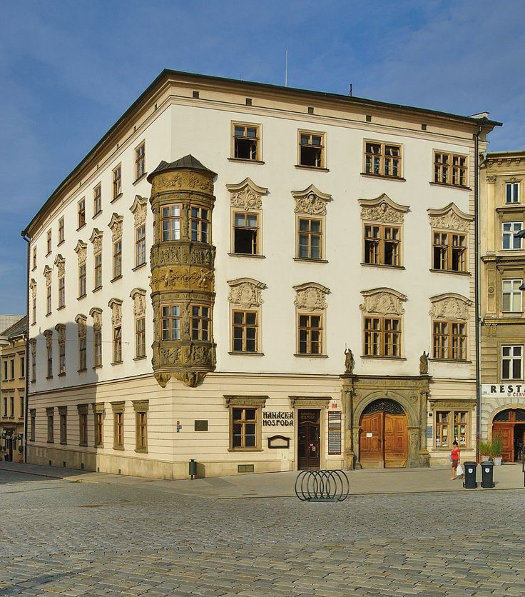 Hauenschildův palác, čp. 27, Dolní náměstí, Olomouc.Hauenschild's House on the Lower Square in which in 1767 the Salzburg Kappelmeister Leopold Mozart stayed with his wife Maria Anna and their children Nannerl and Wolfgang Amadeus in Olomouc, Czech Republic