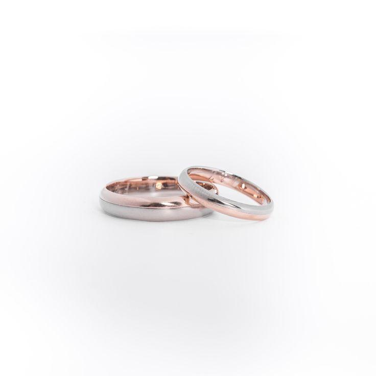 Marcelle & Marcel. Alliances deux ors assorties pour femme et homme. Réalisées en or rose et or gris équitable Fairmined. Wedding ring pink gold and grey gold.