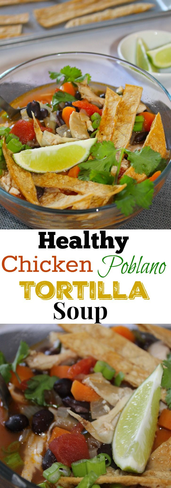 You'll do your body good with this easy 20 minute Healthy Chicken Poblano Tortilla Soup. The 10 minute homemade tortilla strips and a bit of kick from the pepper makes this such a vibrant and flavorful soup. It's full of fresh ingredients and your choice of toppings.