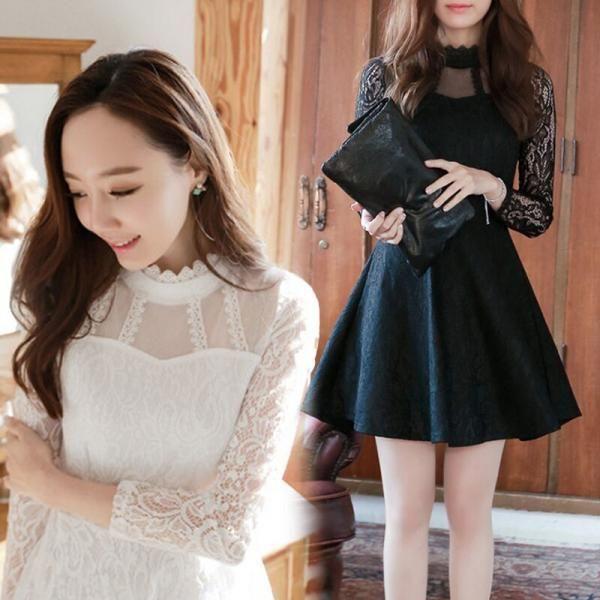 Sheer Lace Long Sleeves Skater Dress