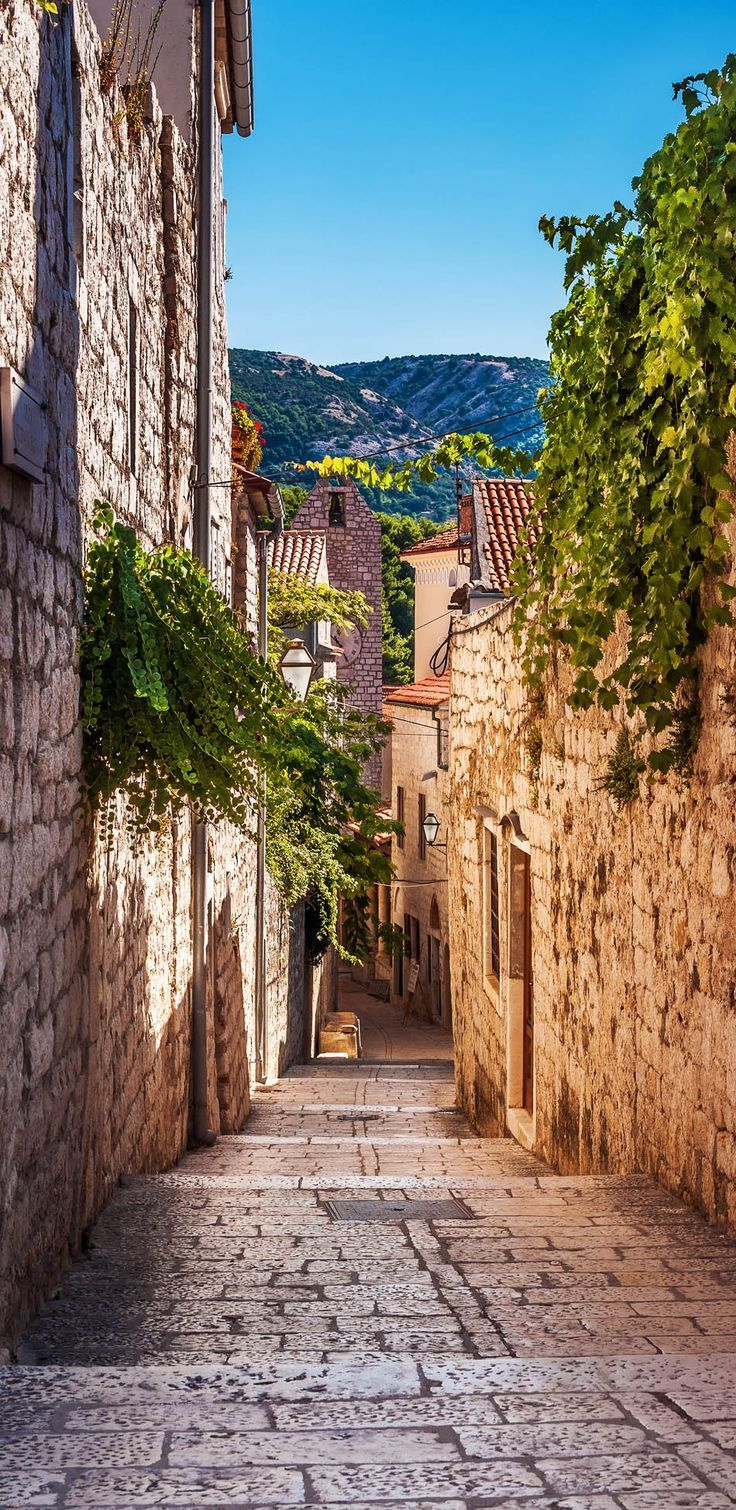 Beautiful Narrow Street with greenery on the walls in Rab, Croatia | 15 Photos That Will Make You Fall in Love with Croatia