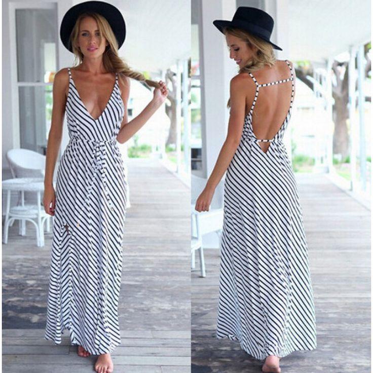 Black&White Striped Spaghetti Strap Backless Maxi Dress