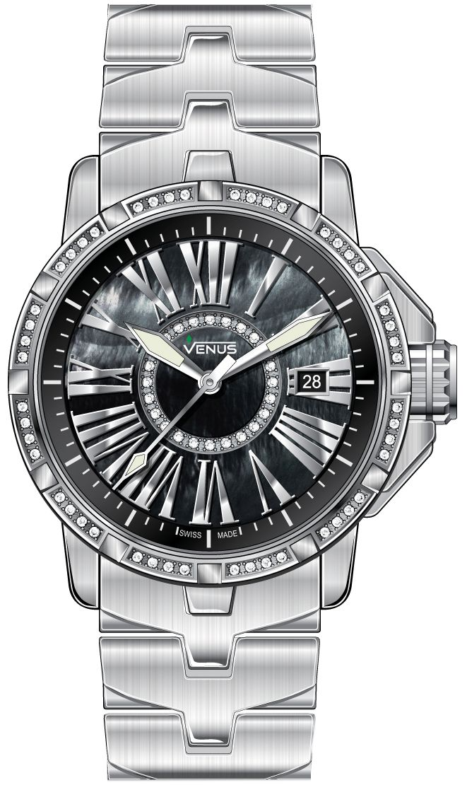 Time-date Quartz with 72 diamonds, black mother of pearl circle, Genesis collection, VENUS