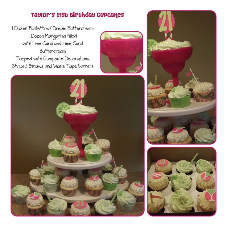 21st Birthday Cupcakes With Margarita Glass Topper