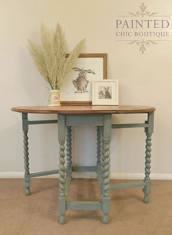 Antique Dining Table Oak Barley Twist By PaintedChicBoutique