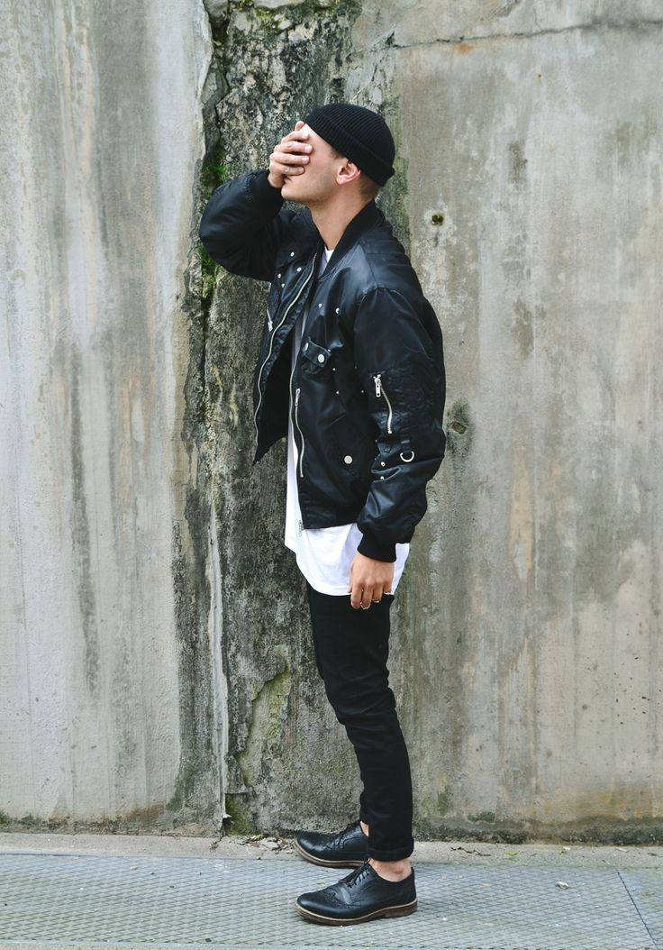 Shop this look on Lookastic:  http://lookastic.com/men/looks/beanie-bomber-jacket-crew-neck-t-shirt-jeans-brogues/8633  — Black Beanie  — Black Leather Bomber Jacket  — White Crew-neck T-shirt  — Black Jeans  — Black Leather Brogues