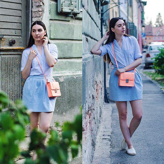 Nicoleta P. - Zara Basic Shirt, Stradivarius Tulip Skirt, H&M Neon Bag, C&A Espadrilles - August Blues