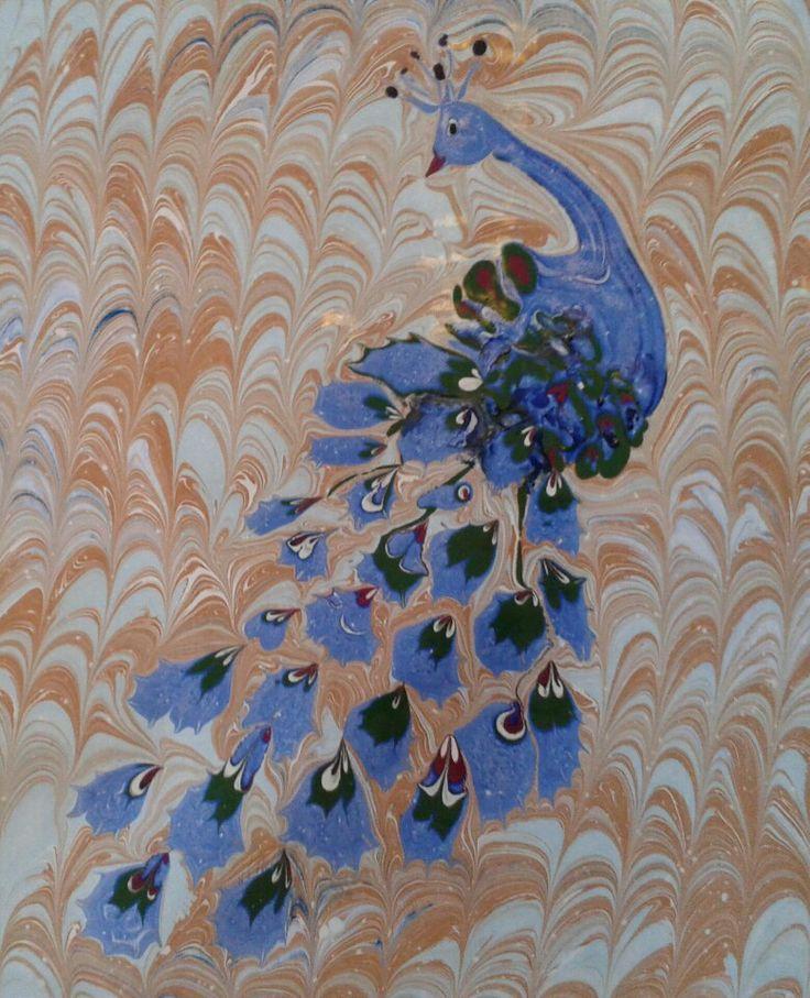 ebru sanatı (marbling art) by mai hatti  peacocks (tavuskuşu)