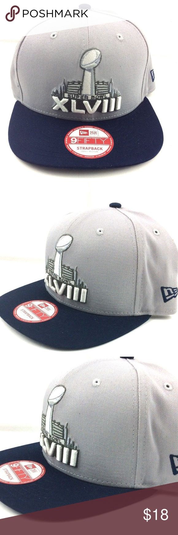 9 Fifty New Era Hat, Cap Super Bowl XLV111 9 Fifty New Era Hat, Cap Super Bowl XLV111 Blue/Gray Strapback Msrp 29$  • Nwot never used or wore  • Fast free safe shipping  • 100% cotton  • Made in China New Era Accessories Hats