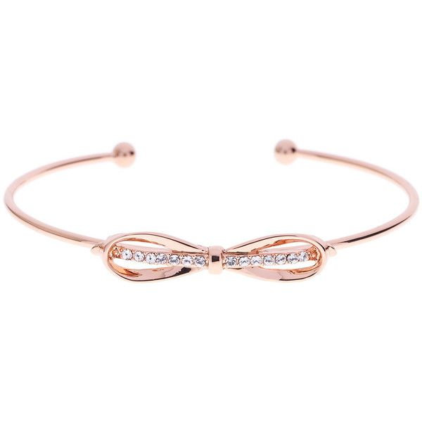 Ted Baker Sorina Bow Cuff Bracelet - Rose Gold found on Polyvore featuring jewelry, bracelets, metallic, glitter jewelry, hinged cuff bracelet, rose jewelry, bow bangle and rose gold bangle