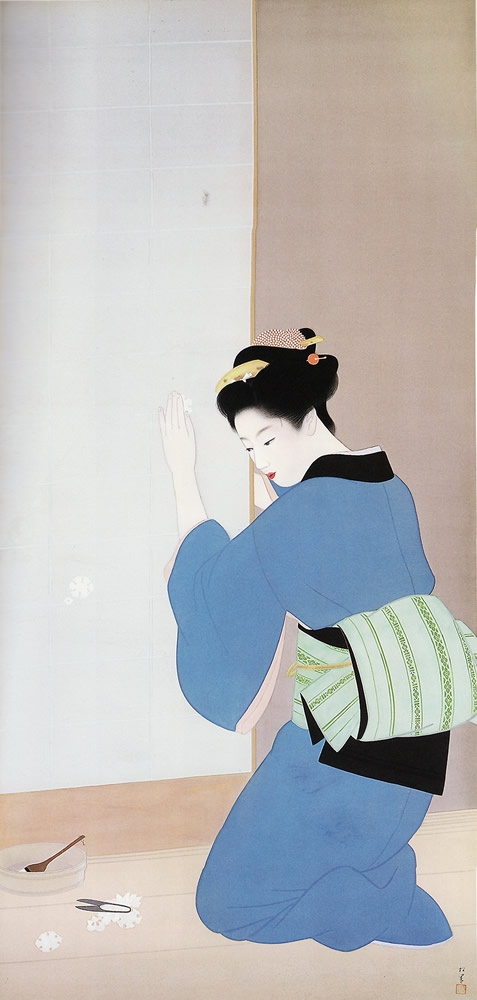 1943  Shouen Uemura (1865-1948)  was the pseudonym of an important woman artist in Meiji, Taishō and early Shōwa period Japanese painting. Her real name was Uemura Tsune. Shōen was known primarily for her bijinga paintings of beautiful women in the nihonga style, although she also produced numerous works on historical themes and traditional subjects. #kimono #japan #clothes