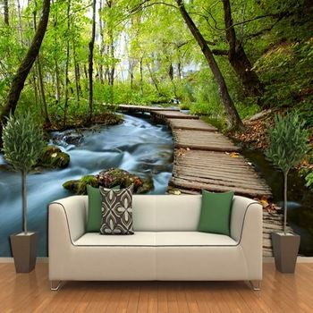 Large 3D stereoscopic pastoral mural wall space to expand the living room TV background wallpaper bridges