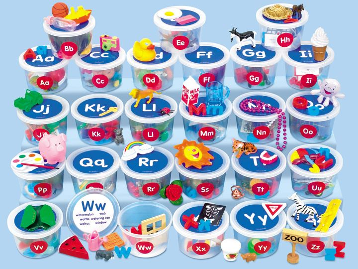 Alphabet Sounds Teaching Tubs are simply wonderful!  Your students will love looking at each tubs items and saying what they are.  #LakeshoreDreamClassroom