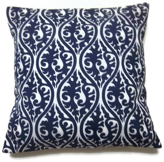 Blue And White Pillows Part - 49: Navy Blue White Pillow Covers By LynnesThisandThat