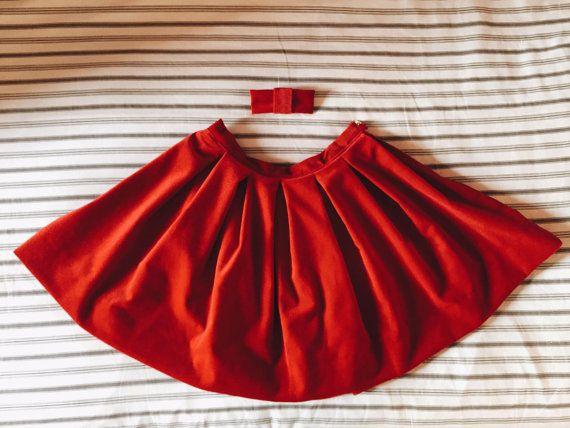 Gonna di velluto rosso a pieghe grandi per donna e di Magicamaria #italiasmartteam #etsy
