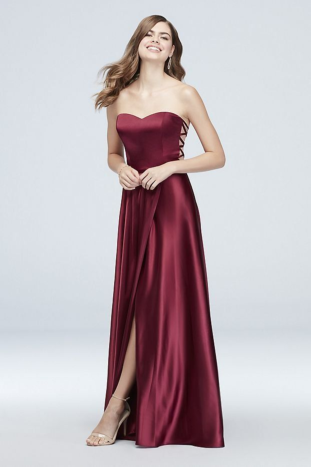 9678159655b1d Strapless Charmeuse Prom Dress with Lattice Side Panels | David's Bridal  prom dress, burgundy prom dress, strapless prom dress, maroon prom dress