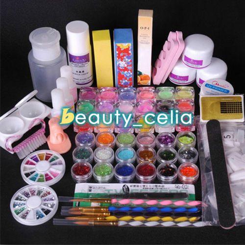 Acrylic-Powder-Glitter-Nail-Art-Kit-UV-Gel-Glue-Manicure-DIY-Tips-Brush-Set-Kit