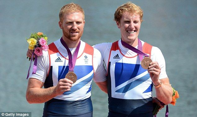 Passing the baton: New Zealand pair Hamish Bond and Eric Murray (right) won gold in the Men's Pair, with Brits William Satch and George Nash sealing bronze