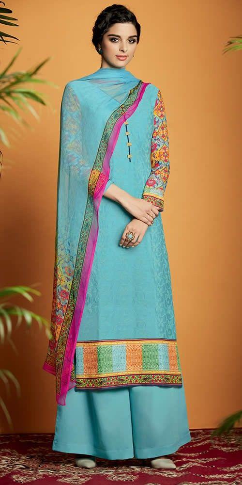Sky Blue Colour Pure Soft Cotton Satin Party Wear Palazzo Suit