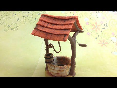 Making a rustic well with polymer clay (Fimo soft) and watter effect with epoxy glue Fazendo um poço rustico com cerâmica plástica (Fimo Soft) e efeito reali...