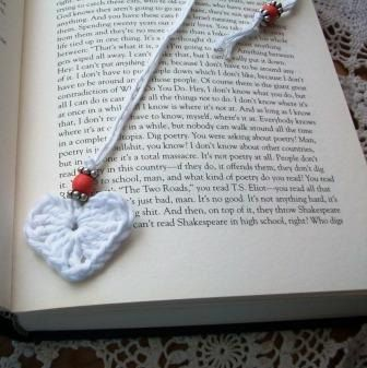 Crocheted Heart and Bead Bookmark