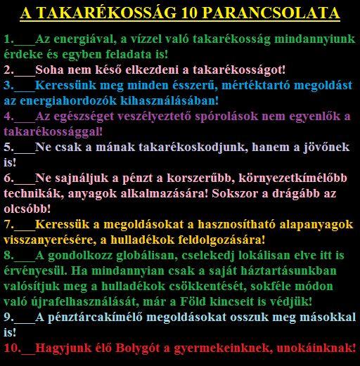 A TAKARÉKOSSÁG Tízparancsolata