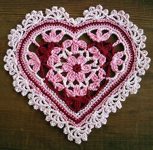 Crocheted Floral Heart #2 , via Flickr. No pattern but so pretty