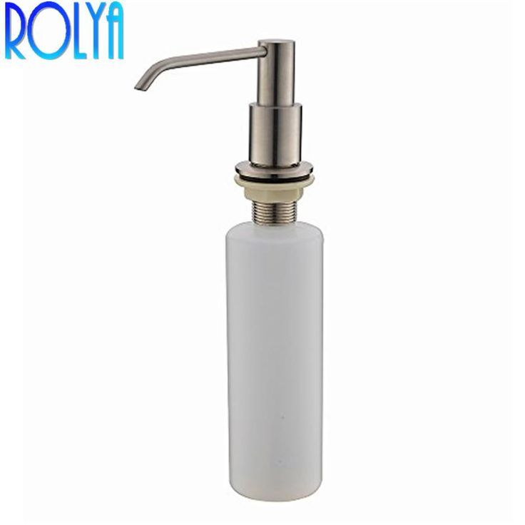 Rolya New Wholesale Modern Solid Brass Brushed Nickle Kitchen Sink Countertop Liquid Dish H Sink Countertop Soap Dispenser Kitchen Sink Countertop