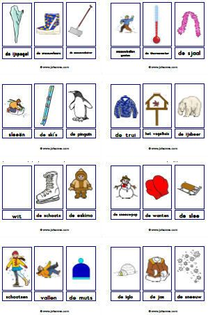 Woordkaarten: winter