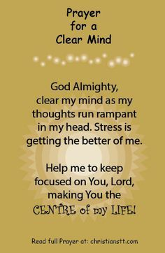 """Prayer to Clear My Mind -  Acts 24:16 – This being so, I myself always strive to have a conscience without offense toward God and men."""""""