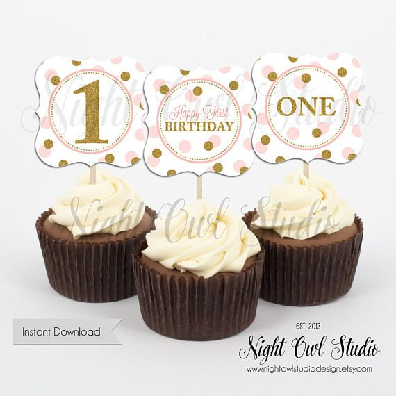 Pink and Gold First Birthday Cupcake Toppers Blush Pink Gold