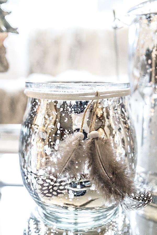 Lysholder i sølv med tau og fjær
