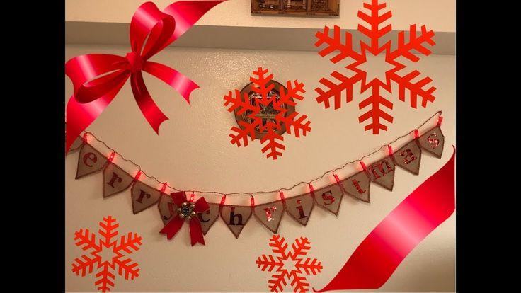 Como hacer Guirnalda con tela de yute(feliz navidad)