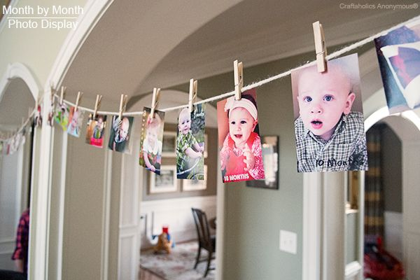 cute way to display monthly pictures for baby's first birthday