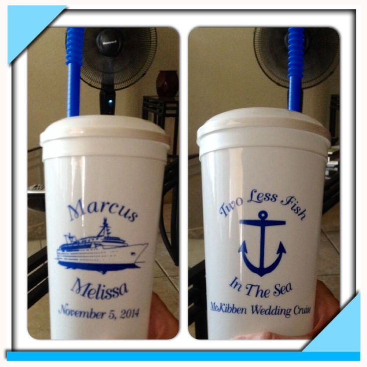 32oz stadium cups with lids and straws. Wedding favors for cruise ship wedding. Two less fish in the sea