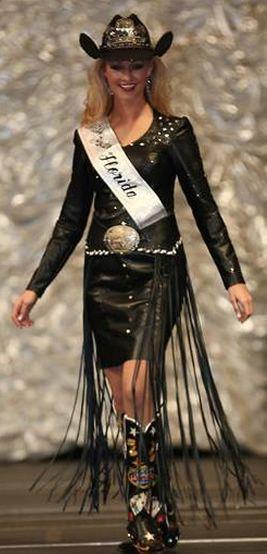 Jenna Smeenk, Miss Rodeo FL 2013  wears a black lamb fringe dress
