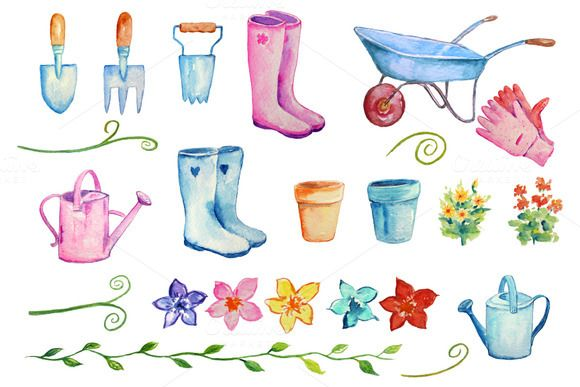 Check out Watercolor Gardening Clipart by Corner Croft on Creative Market