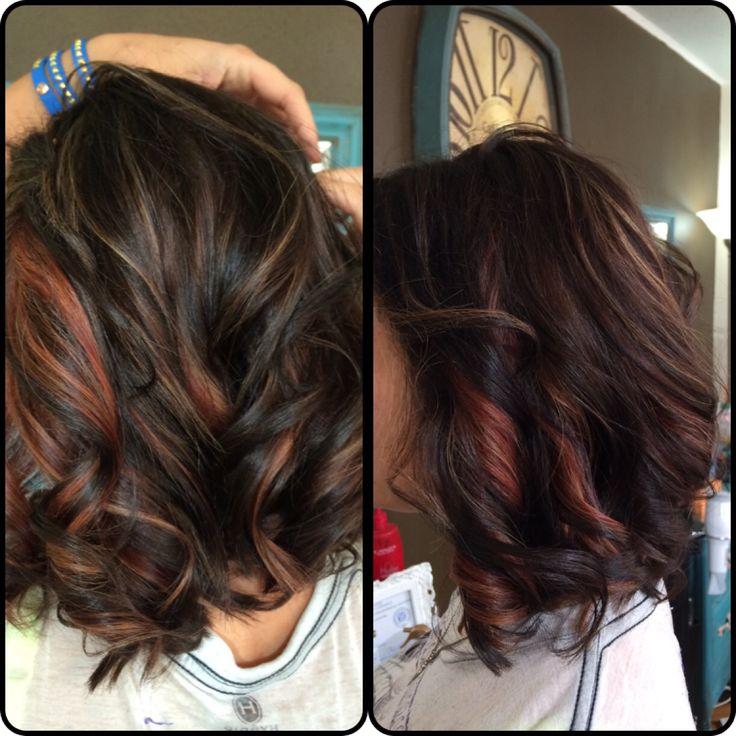 Red Caramel Highlights On Dark Hair Fehizollinger
