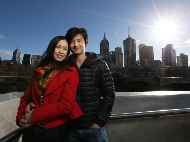 The gorgeous pair enjoy the sights of Melbourne on a winter's day. Picture: Tim Carrafa