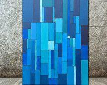 Pintura acrílico lienzo pared arte Arte grande arte pintura abstracta geométrica Original arte pintura azul Pinting
