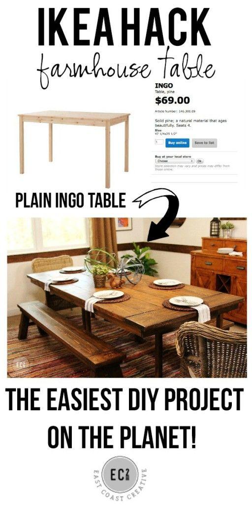 DIY Furniture: IKEA hack: Build a farmhouse table the easy way! #DIY #Furniture