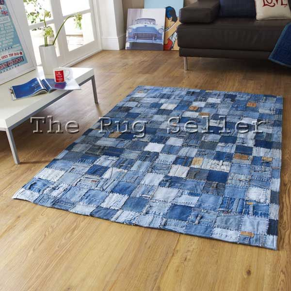 Denim patchwork rugs in blue