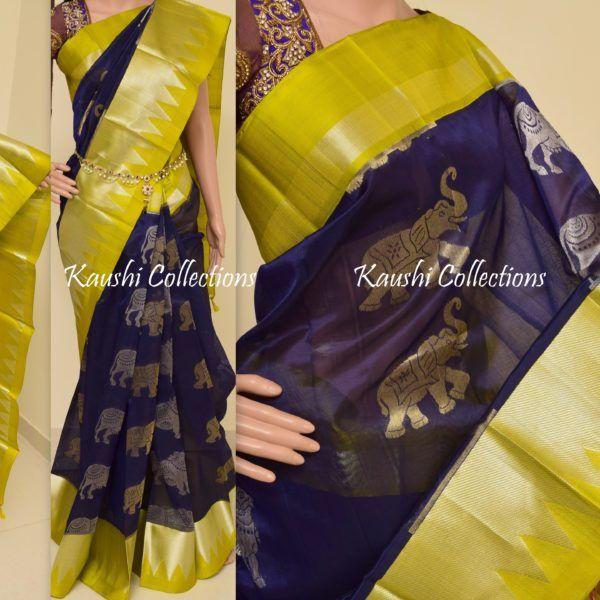 Saree: Kanchi Kuppadam silk saree with big animal butas Blouse: Olive Green Maintenance: Dry wash only
