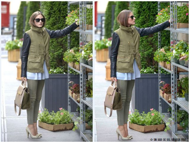 : Army Green, Safari Jackets, Leather Sleeve, Style Inspiration, Military Green Pants, Posts, Celebs Style, Olivia Palermo, Green Outfit