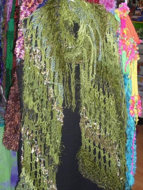 OOAK Lacey Green Wrap by knitsandnighties on Etsy