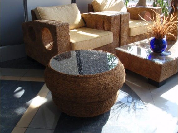 Handmade Coffee Table Made By 2 Recycled Motorcycle Tyres Coconut